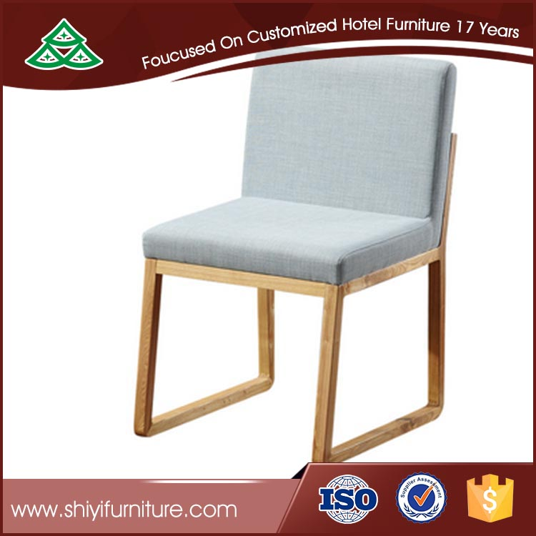 Classic leather armlessdining chair Wooden Fabric Chair