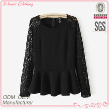Summer manufacturer fashion long sleeve lace ruffle bottom beautiful blouses for women
