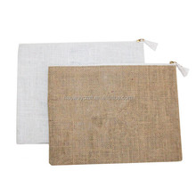 New arrival jute burlap monogram cosmetic bag for wholesale