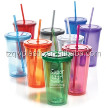 Plastic double walled thermal plastic cup with straw-16oz