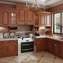Solid cherry wood classic customized modular kitchen cabinet
