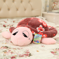 50/60/78cm beautiful customized plush tortoise/cuckold doll bolster/pillow toy with printing flowers on back(coffee)
