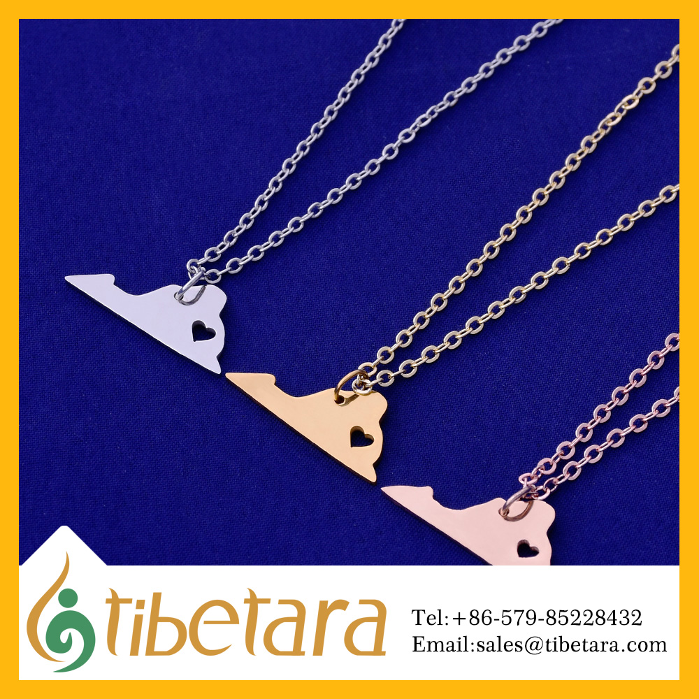 About 26x10mm tibetara Stainless Steel Virginia-VA Blank ,I love Virginia-VA, Fashion State-ment Necklace