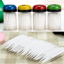 100 pcs Sharp Tip White Hollow Plastic Toothpick
