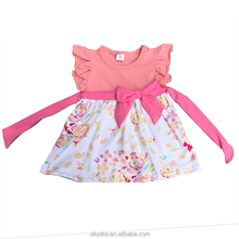 Baby summer floral clothing dresses bowknot dress frock design for girls