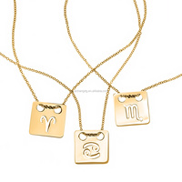 Zodiac Cut Out Gold Square Tag Pendant 24k Gold Plated Zodiac Necklaces