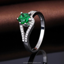 new silber schmuck emerald costume prong noble ring