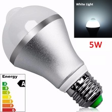 2017 New Products Hot Sale Wholesale E27 Energy Saving 5W E27 Infrared Motion led sensor light bulb, Pure white 6500K
