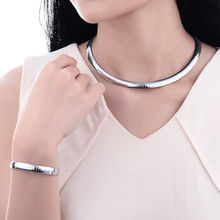 BAOYAN Silver Color Snake Choker Bracelet Necklace Jewelry Sets for Women china jewelry stainless steel