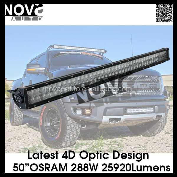 2015 Hottest Light Bar Items 288W 50Inch 4D Optics Osram rotating light bar LED Light Bar with CE RoHS