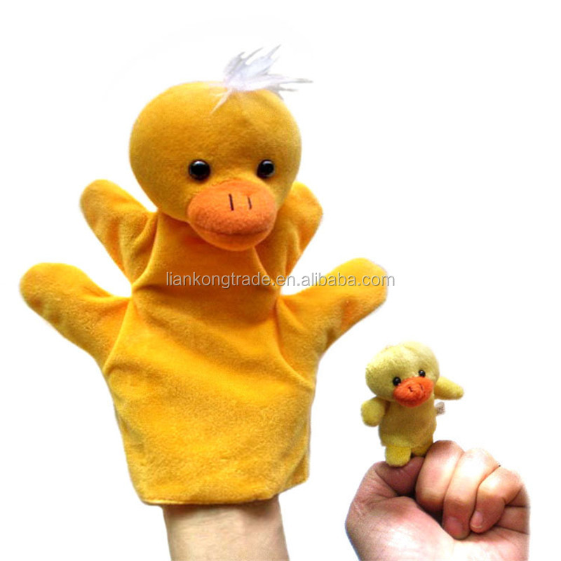 Super cheap animals suit plush material hand puppet glove & finger puppets for kids