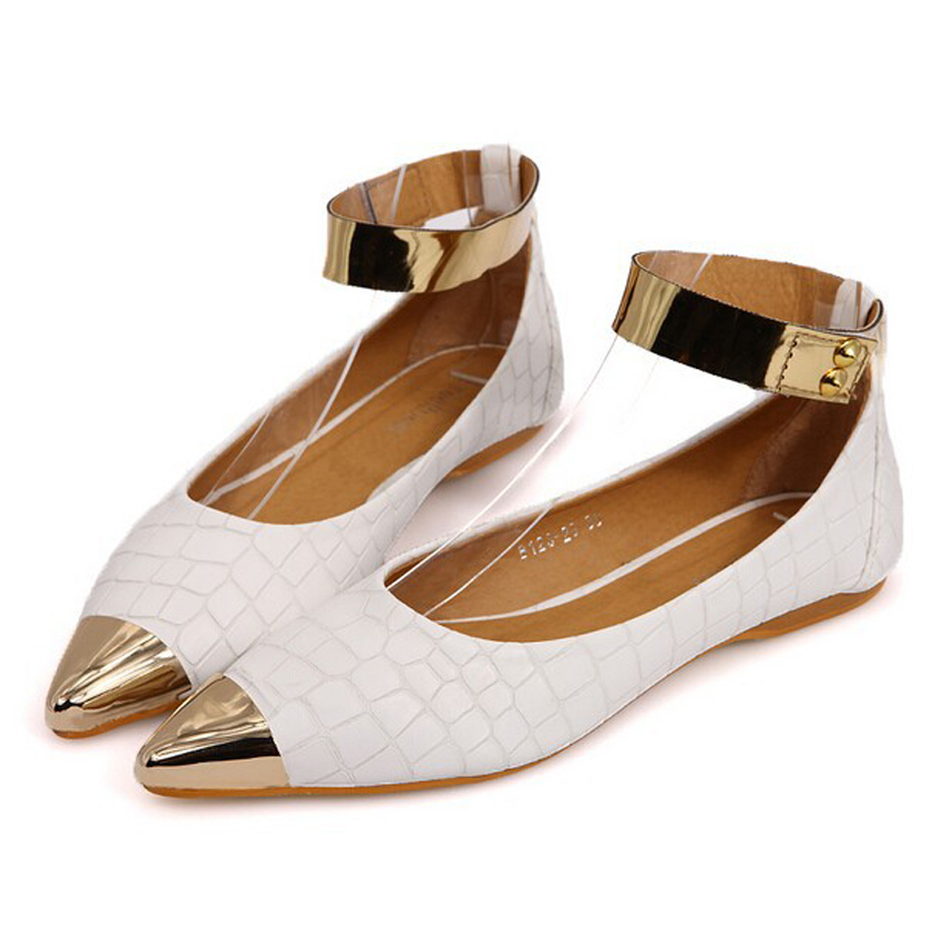 New 2015 Women Flats Shoes Sapatos femininos Casual Shoes Gladiator Metal  Size 35-40 Fashion Shoes White /Black PU Leather