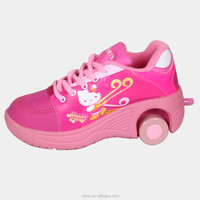2015 new girls 2 wheels Hello Kitty flying & roller shoes