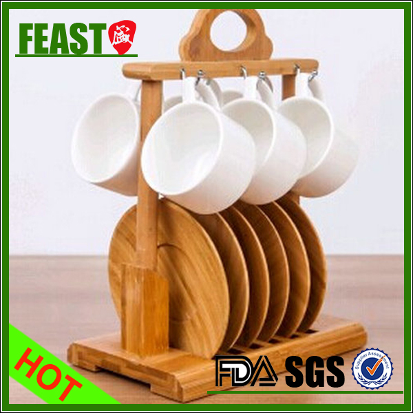 Top grade UNIQUE porcelain coffee set with bamboo base NEW shape office lounge coffee set 6 pcs white ceramic coffee set