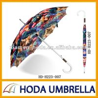 Fashionable plant printed automatic aluminium shaft heat transfer unfold umbrella