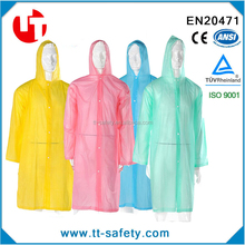 adult portable long size hooded clear reusable raincoat clear pvc raincoat