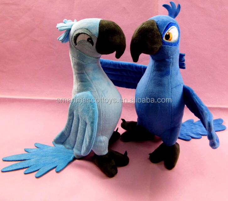 custom make blue bird parrot soft stuffed toy plush animal toy