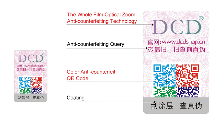 Custom design printing paper clothing brand tags with Whole Film Optical Zoom Anti-counterfeiting Technology