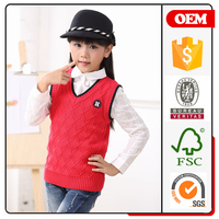 2016 new design knit vest sweater for girls red color