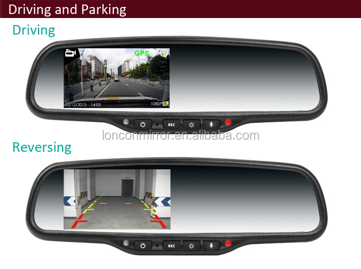 auto rear view mirror monitor with 4.3 inch monitor display and DVR recording