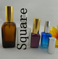 Sell 15ml 20ml 30ml 50ml 100ml clear amber square glass perfume bottle with atomizer, sprayer, pumper, for fragrance oil