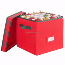 Foldable 600D Christmas Polyester Ornament Storage Box With Durable Handle And Removable Lid