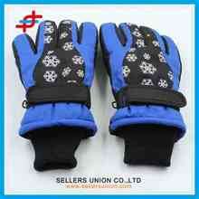 blue snow pattern winter skin gloves for men/ super soft and waterproof