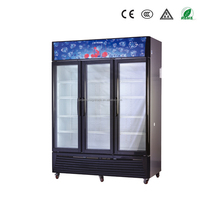 1380L air-cooled 3 door upright glass door drink cooler with wheels