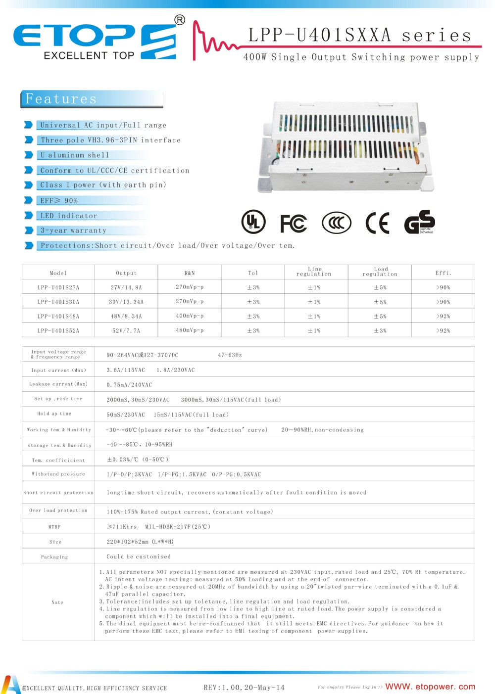 ETOP LED, street light & automatical machine 400W delta electronics power supply