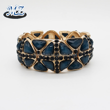 leopard pattern printed oval acrylic setting wide stretch elastic bracelet