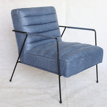 Dark Blue Quality Leather Upholstery Lounge Chair