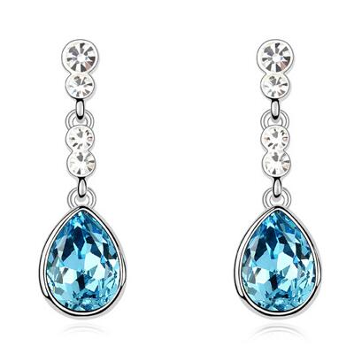 E003 Turquoise Water Drop Women Earrings Fashion Jewellery Wholesale Austrian Crystal Drop Earrings 2017 Birthday Gift