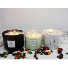Wholesale custom glass jar 3 wick scented candles