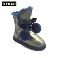 warm snow ball kids metallic blue sheepskin winter boots