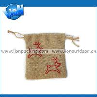 Custom hand made burlap Jewelry Drawstring Pouch Bag, jute hemp wedding Pouch