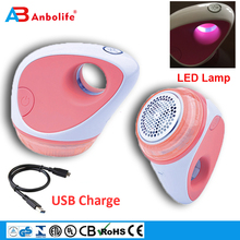 Anbolife OEM Mini Portable USB Fabric Shaver Electric Battery Rechargeable Lint Remover for Sweaters and Blankets with LED Light