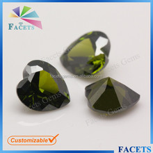 FACETS GEMS Wholesale Peridot Artificial CZ Heart Cut Nativa Gems