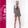 Cosplay Perforance Stripe Ghost Zombie Prison Girl Costume
