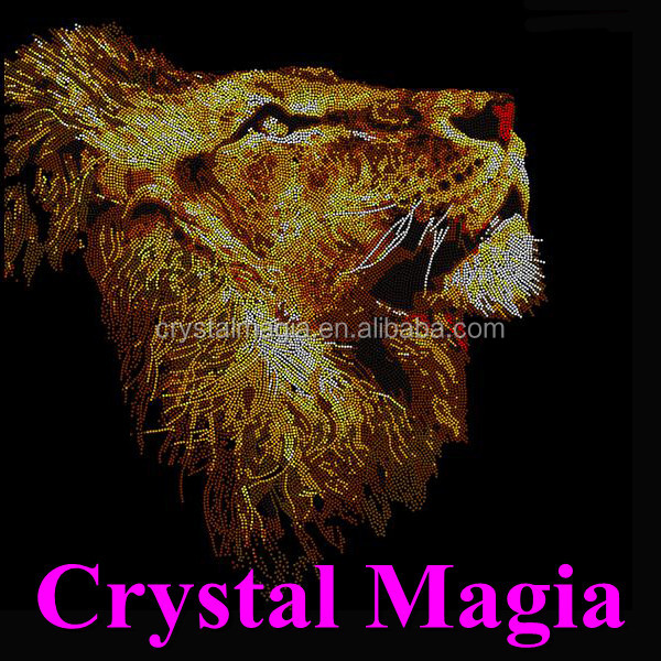 new lion handmade crystal beaded animals iron on rhinestone patches motif