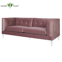 Home furniture upholstery 3 seater sofa one piece MOQ romantic pink velvet lady favorite couch
