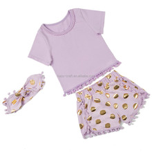 2016 Baby Gift Set plain color top and the gold polka dot short Best Selling 100% cotton baby clothes