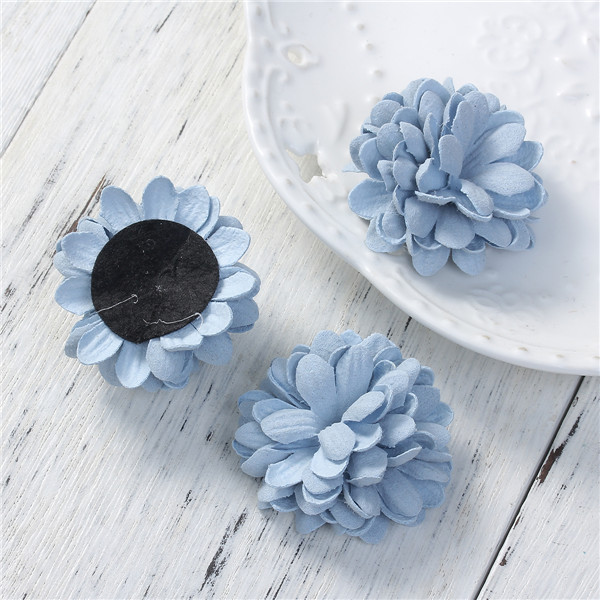 Fabric DIY Jewelry Craft Chrysanthemum Flower Blue Applique Designs For Dresses