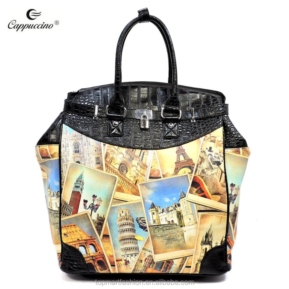 2018 Newest Style Fashion Lady Tour Illustration 2-Wheeled Foldable Car Luggage Bag