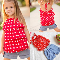 Wholesale girl fashion clothing European style chiffon dot cake sling top+ denim shorts 2pcs/set children suit