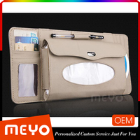 Custom Logo Painting Leather High Class Tissue Box CD DVD Box With Card Holder For Car