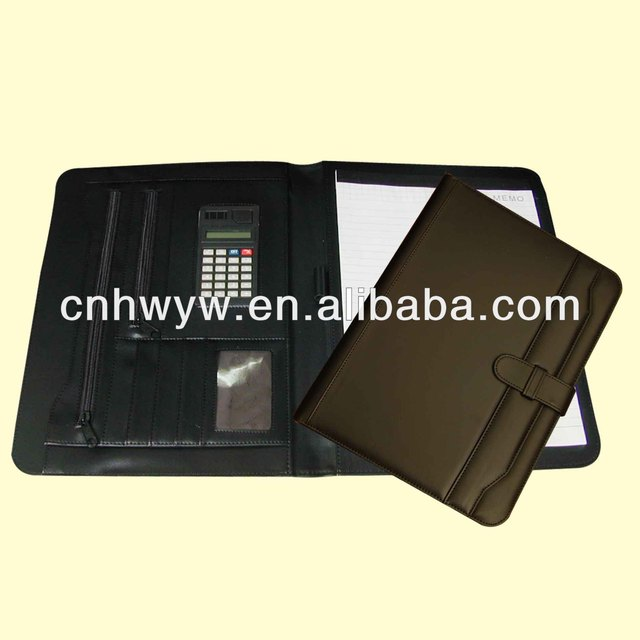 PU cover manager clip & Leather portfolio with calculator