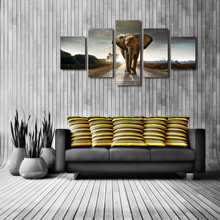 Newest wall art canvas art in china , 5 panles elephant view canvas painting ,Print decoration home decoration
