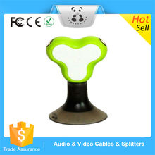 New good service 3.5mm Male to 2 Female Earphone Adapter music splitter Splitter with Sucker Stand