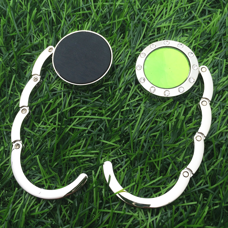 Factory sell Custom Zinc Alloy Green round purse hook,hook hanger,foldable bag hanger
