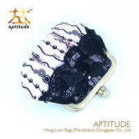 Dongguan Supplier Lace Coin Purse Lady Fashion Cluth Coin Purse